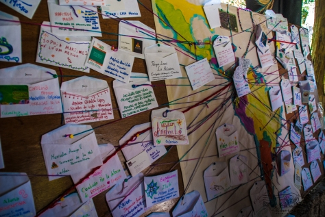 A map of Latin America was created using strings and pins as well as envelopes and cards for everyone to add their place on the map and their business card or contact information. As a result, a beautiful art piece was created representing the web of regenerative initiatives that covers the continent.